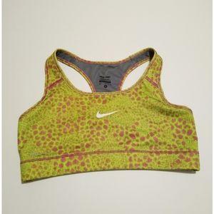 Size M Nike lime green purple sports bra -like new